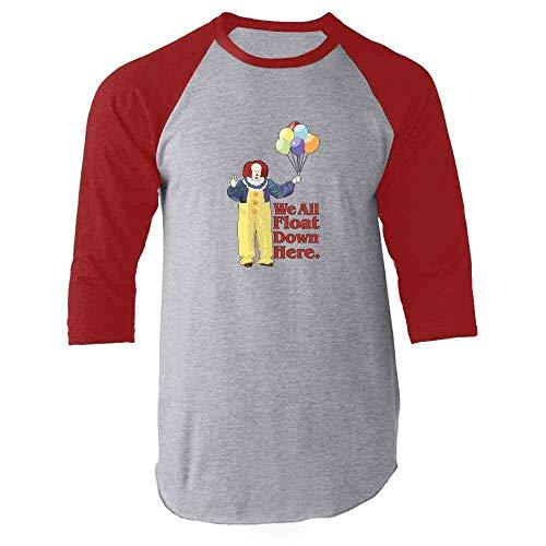 Clown Float Down Here Minimalist Red M Raglan Baseball Tee Shirt -