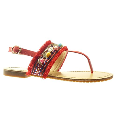 Angkorly - Zapatillas de Moda Sandalias Chanclas correa mujer bordado joyas fantasía Talón tacón plano 1.5 CM - Rojo