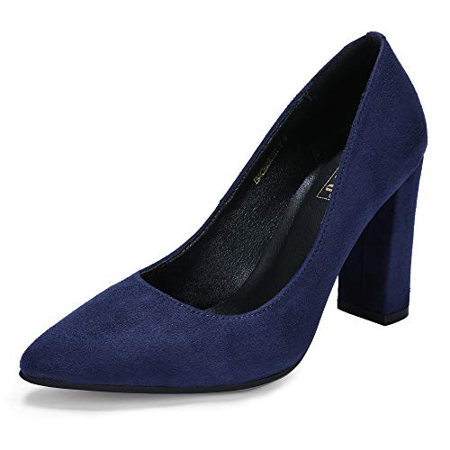 - IDIFU Women's IN4 Chunky-HI Classic Closed Pointed Toe Pumps High Chunky Block Heels Dress Office Shoes (Blue Suede, 7 M US)