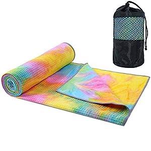 Well-Being-Matters 41EsF3ePQPL._SS300_ Yoga Mat Towel Non Slip Hot Yoga Towel ,Sweat Absorbent, for Hot Yoga, Bikram, Pilates (Tie-Dyed Yellow)