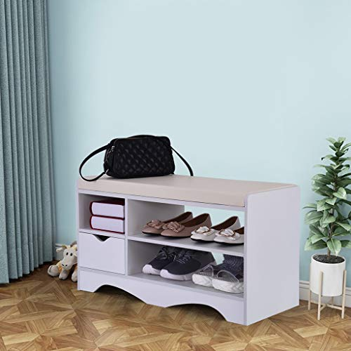 (Beyonds Entryway Shoe Storage Bench, Noble White Two-Tier Shoes Shelf Rack with Padded Seat Cushion, Hallway Bathroom Wooden Cabinet)