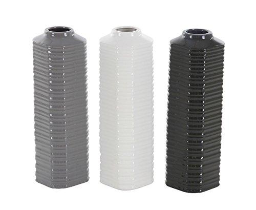 Deco 79 87728 Ribbed Hexagonal-Prism Ceramic Vases (Set of 3), 4