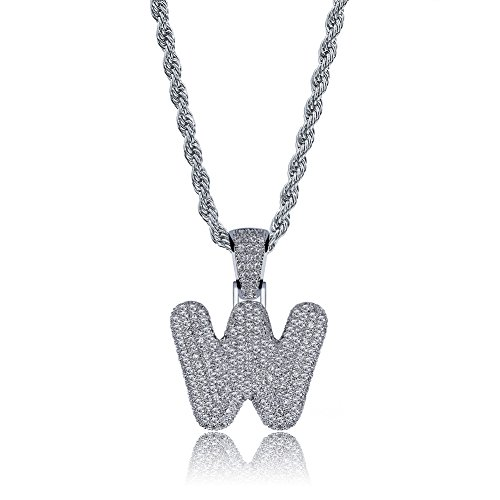HECHUANG Micropave Simulated Diamond Iced Out Bling Custom Bubble Letters Pendant with Rope Chain (W Silver, 24)