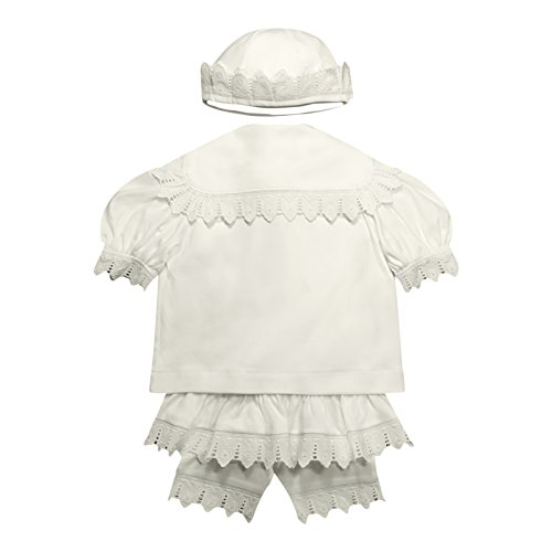 Victorian Organics Baby Girl Sailor Set 4 Piece Organic Cotton Knit and Eyelet Lace Trim Jacket Hat Dress and Bloomers (NB 0-3 months) by Victorian Organics (Image #1)