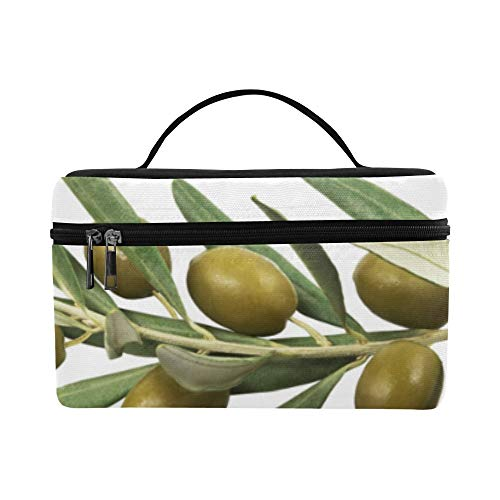 Olives Green Cartoon Large Capacity Size Lady Cosmetic Bag Makeup Organizer Lunch Box Tote Holder Case Cooler For Girl Women Travel Picnic