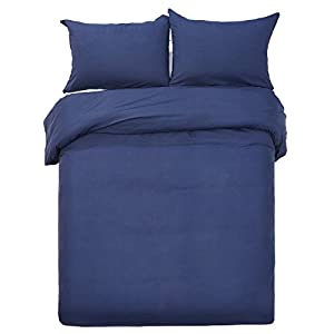 Word of Dream Brushed Microfiber Solid Duvet Cover Sets 2 PC, Luxury Soft, Twin - Navy