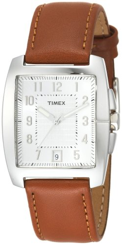 Timex Men's T29371 Classic Square Brown Leather Strap Watch