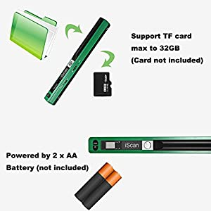 Pettstore Portable iScan Office Handheld Scanner Photo Documents Scanner Book A4 Scan For 900DPI 32GB (Scanner, Green)