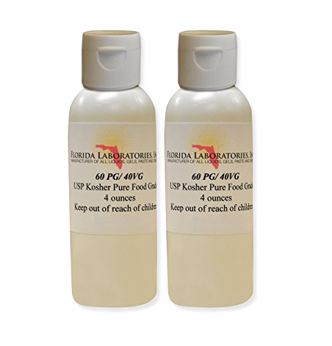 2 -Bottles 4 oz 60/40 PG-VG Propylene Glycol & Vegetable Glycerin Kosher 99.9% Pure Food Grade