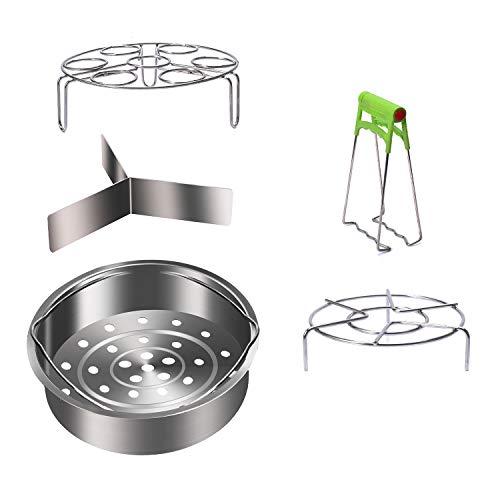 Instant Pot Accessories Set with Steamer Basket,Egg Steamer Rack,Steaming Stand,Kitchen Trivet Stand,Dish Plate Clip,Fits Instant Pot 6,8 Quart Pressure Cooker,5 Pcs Set