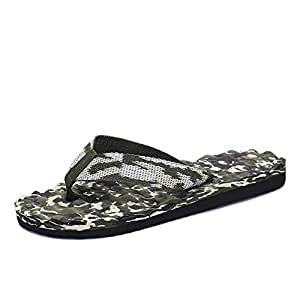 Mens Flip Flops Slippers Thong Sandals Beach Shoes for Men Summer Antislip Camouflage Massage Fabric Upper Casual Breathable Round Open Toe Flat (Color : Green, Size : 6 UK)