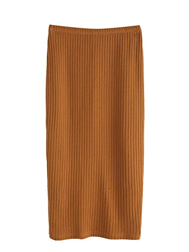 SheIn Women's Basic Plain Stretchy Ribbed Knit Split Full Length Skirt Camel Large ()