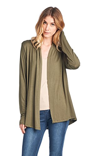ReneeC. Women's Extra Soft Natural Bamboo Open Front Cardigan - Made in USA (Large, ()
