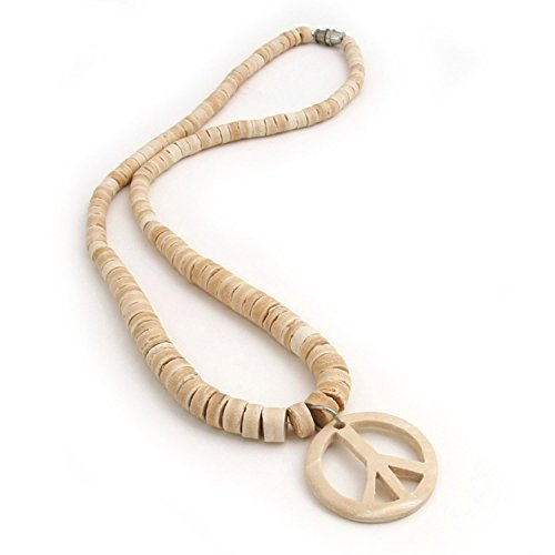 - Fashion Necklace - Organic Natural Wooden Beads with Coconut Peace Symbol Pendant (White on White)