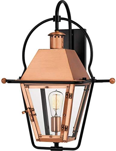 Quoizel RO8418AC Rue De Royal Outdoor Wall Sconce Lighting, 1-Light, 150 Watt, Aged Copper 23 H x 18 W