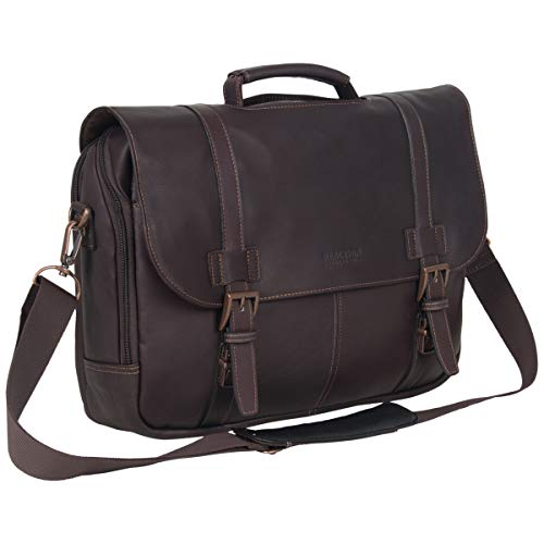 Kenneth Cole Reaction Show Full-Grain Colombian Leather Dual Compartment Flapover 15.6-inch Laptop Business Portfolio, Dark Brown