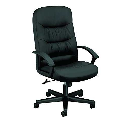 HON Charge Leather Executive Chair – High Back Armed Office Chair for Computer Desk, Black HVL641