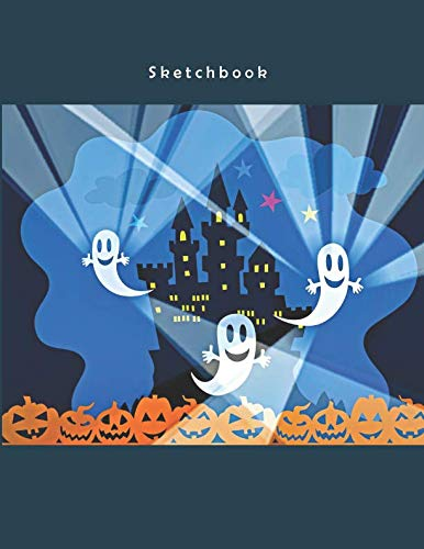 Sketchbook: Cute Ghosts - A Halloween Themed Large Notebook with 100 Blank Pages, Halloween Motifs Inside (8,5 x 11 -