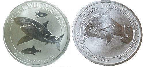 Australia Shark Silver Coin Set - 2014 1/2 oz Silver Great White Shark and 2015 great Hammerhead Shark Uncirculated