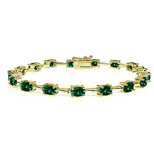 (Yellow Gold Flashed Sterling Silver Simulated Emerald 6x4mm Oval Classic Link Tennis Bracelet)
