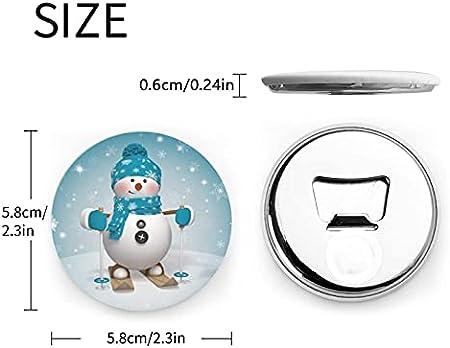 3d encantador navidad dibujos animados esquí muñeco de nieve copo de nieve abridor de botellas redondas / imanes de nevera sacacorchos de acero inoxidable pegatina magnética 2 piezas