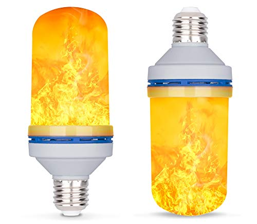 LED Flame Effect Light Bulb, E26 4W 4 Modes with Gravity Induced Decorative Light Fire Flickering Atmosphere Lighting Vintage Flaming Lamp for Holiday Hotel/Bar/Party/Home (2 Pack) ()