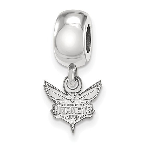Roy Rose Jewelry Sterling Silver NBA LogoArt Charlotte Hornets X-small Dangle Bead Charm by Roy Rose Jewelry