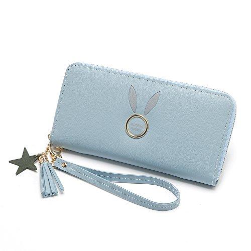 Lovely Color Lady Pattern Rabbit Blue Blue Embrague de Stylish Long Zipper Monedero rrAU47qn