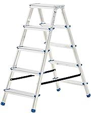 Huishoudtrap met 5 treden dubbelzijdig 113 cm aluminiumHardware Gereedschap Ladders bouwsteigers Ladders