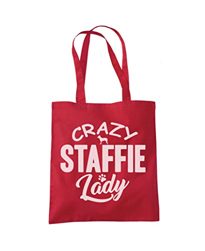 Crazy Red Lady Crazy Staffie Shopper Staffie Fashion Tote Bag rrqTwf7