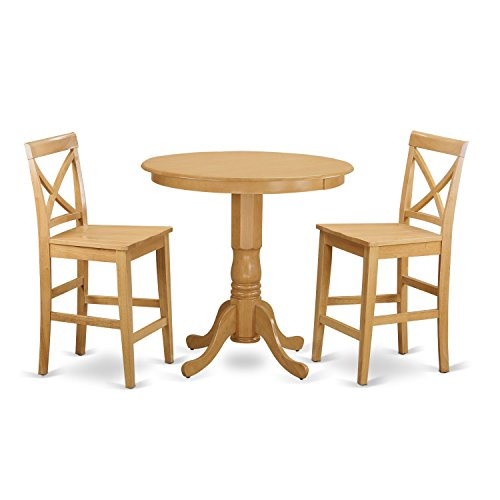 East West Furniture JAPB3-OAK-W 3 Piece Table and 2 Bar Stools Set