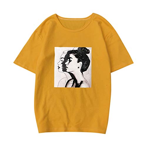 Cute Tops for Women,YEZIJIN Women Summer Fashion Casual Print Short Sleeve Blouse Loose Top T-Shirt Plus 2019 Yellow