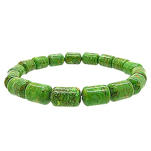 Gem Stone King 8X11mm Rounded Rectangle Green Simulated Turquoise Stretchy Bracelet Fit up 8.5inches