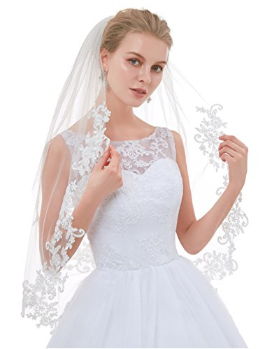 Greenia Soft Tulle 2 Tier Lace Wedding Veil for Bride Fingertip Length GN-V12