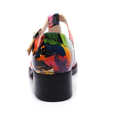 COOLCEPT Zapato Mujer Moda Cut Out Oficina Court Zapato Mary Jane Tacon Ancho medio Multicolor