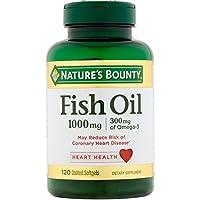 Nature's Bounty 300 mg Omega-3 Fish Oil 1000 mg Softgels 120 Coated Soft Gels ( Pack of 2)