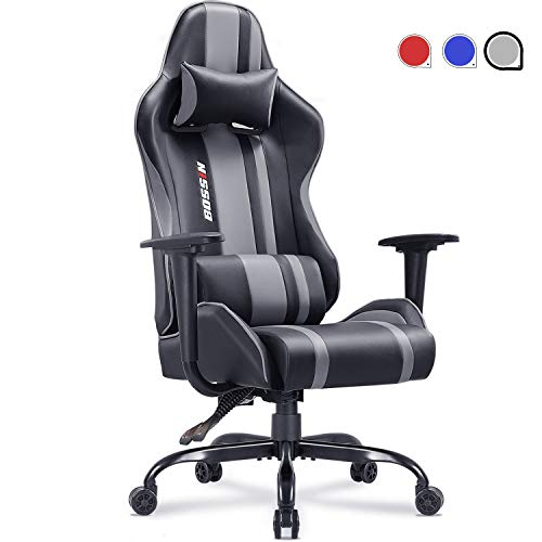 Gaming Chair Racing Style Office Chair Adjustable Height Chair Ergonomics High-Back Chair PU Leather Gaming Chair Swivel PC Computer Chair with Headrest and Lumbar Support(Grey)