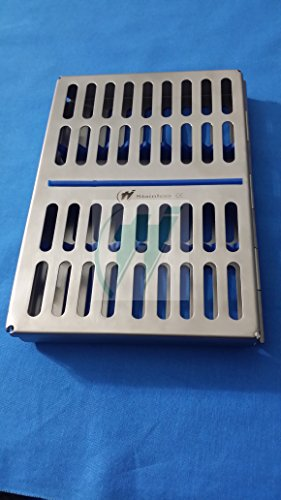 French Steel Autoclave Dental Surgical Sterilization Cassette Tray for 10 Instruments (Hti Brand)