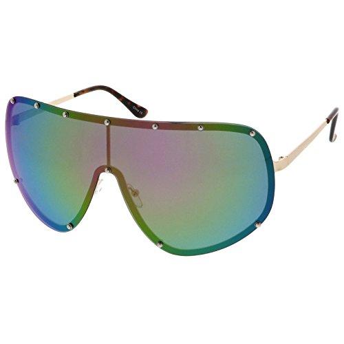 sunglassLA - Futuristic Oversize Rimless Colored Mirrored Mono Lens Shield Sunglasses 75mm (Gold / Purple Green - Sunglasses Rimless Shield