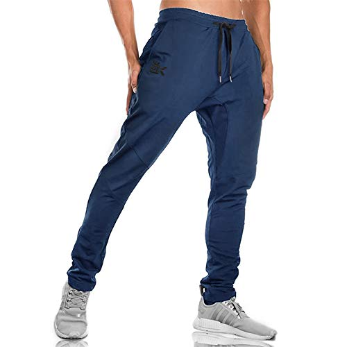 BROKIG MensJogger Sport Pants,Casual Zipper Gym Workout Sweatpants Pockets (L, Navy)