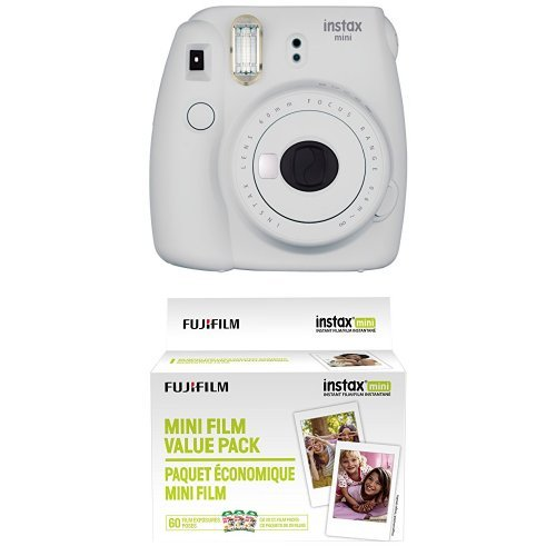 Fujifilm Instax Mini 9 Instant Camera – Smokey White with Value Pack – 60 Images