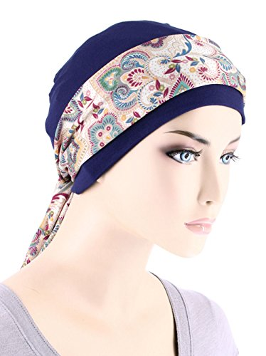 Womens Navy Blue Chemo Cap with Multi Color Paisley Print Sash for Cancer Hair Loss