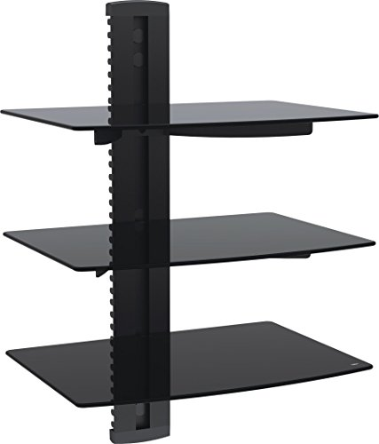 VonHaus 3x Black Floating Shelves with Strengthened Tempered Glass for DVD Players/Cable Boxes/Games Consoles/TV (Gaming Shelf)