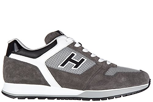 Hogan scarpe sneakers uomo camoscio nuove h321 allacciato h flock grigio