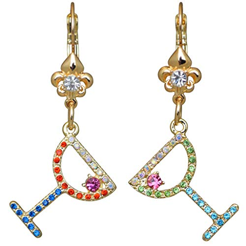 Ritzy Couture Margarita Cosmo Cocktail Glass Earring with Pave Crystal Fleur-de-Lis Leverback (Goldtone) Drop Dangle Earrings Women's Jewelry Gift for Girls Christmas Cocktail Party Dress ()