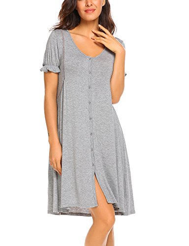- Acecor Womens Button Front Victorian Vintage Short Sleeve Grey Classic Nightgown Sleepwear (M, Grey)