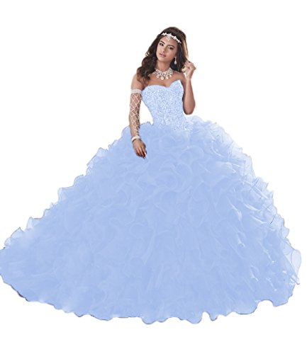New Quinceanera Gown (XSWPL Gorgeous Heavy Beaded Organza Quinceanera Dresses for Sweet 16 Ball Gowns Hot Sky Blue US2)