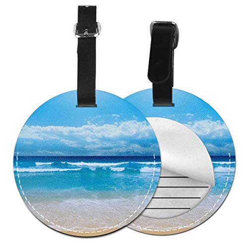 - Cruise Tags Etag Luggage Tag With Adjustable PVC Loop Ocean Beach Blue Name Id Labels Luggage Tags For Women Men - Privacy Suitcase Tag Lables