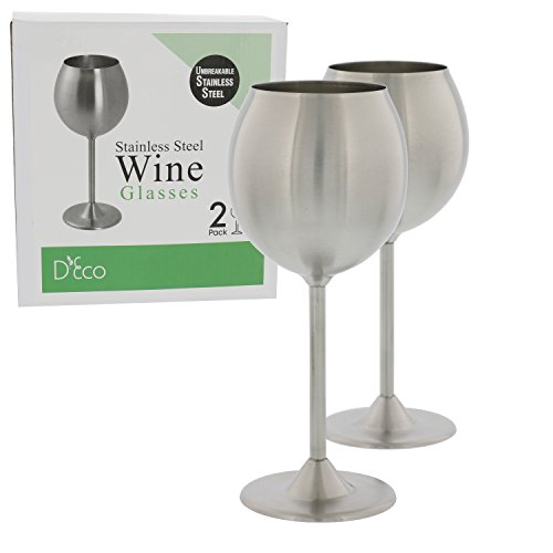 (Stainless Steel Unbreakable Wine Glasses- Set of 2 Premium Quality 12 Ounce Wine Glasses )