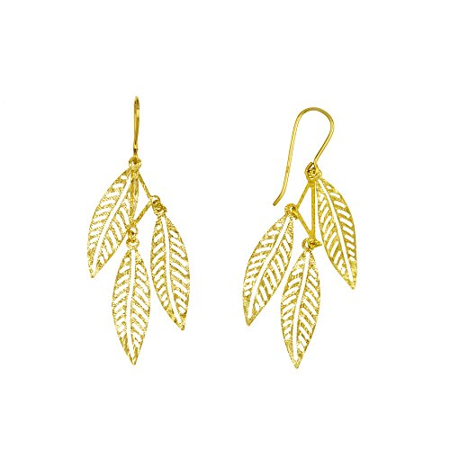 14k Yellow Gold Falling Leaves Dangling Earrings ()